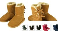 vendas de fábrica de sapatos venda por atacado-O ENVIO GRATUITO de 2017 venda Da Fábrica NOVA Austrália clássico alto inverno botas de couro real Bailey Bowknot mulheres bailey arco botas de neve sapatos de inicialização
