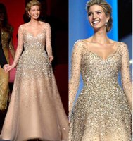 Wholesale Princess Nude - Ivanka Trump Inaugural Celebrity Dresses 2017 Champagne Blingbling Beaded Princess Ball Gown Tulle Nude Fashion Evening Gowns