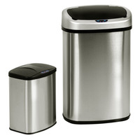 Wholesale Trash Bins Stainless Steel - Set of 2 Touch-Free Motion Sensor Bin Trash Can 13 & 2.3 Gallon Stainless Steel