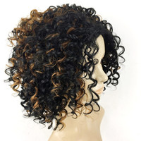 Wholesale Curly Hair Front Lace Price - for black woman synthetic ombre kinky curly hair no lace front ladies hair cap 2H30 super qualtity cheap price 1pieces lot
