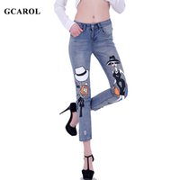 Women bleach girls characters - Women Cartoon Girl Print Ripped Denim Jeans Point Length Pencil Pants Casual Character Summer Spring Plus Size Jeans