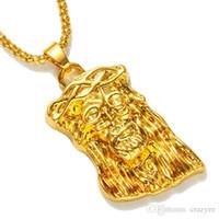relleno caliente al por mayor-Colgante de oro caliente lleno de jesús pieza colgante para hombres mujeres hip hop joyas de oro collar de cadena larga chunky