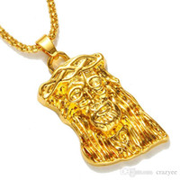 Wholesale Hip Hop Jesus Pendant - Hot gold filled jesus piece pendant necklace for men women hip hop jewelry gold chunky chain long necklace