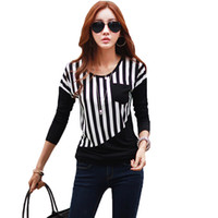 Wholesale Wholesale Basic Black Long Sleeve - Wholesale- New Fashion Women Striped T Shirt Patchwork Chest Pocket Long Sleeve Casual Basic Tops Tee Poleras de Mujer White Black