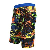 Wholesale Boy Shorts Swim Suits - Wholesale- Male Swim Trunks Printed Swimming Trunks Mid Waist 2017 Men Plus Size Board Shorts Boys Long High Elastic Bathing Suits 9 Colo
