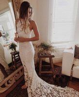 marfim branco transparente casamento vestidos venda por atacado-Transparente Vestido de Noiva Do Laço Da Praia Sereia 2019 New Hot Verão Vestidos De Noiva Frente Feito Sob Encomenda Dividir Branco Marfim Popular Vestidos De Novia