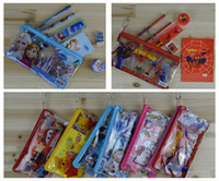 Wholesale Kids Pencils Sets - set packing kawaii cartoon pencil stationery set with pencil case pouch for kids student school supplies birthday day party gifts