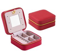 Wholesale Three Tier Boxing - Mini Travel portable leather jewelry box with mirror cosmetic makeup organizer earrings Casket three-tier storage box best gift