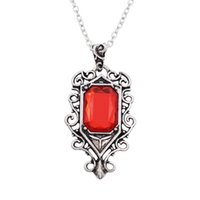 Wholesale carved bone charms - Hot Movie The Mortal Instruments City of Bones Jewelry Angel Red Stone Pendants & Necklaces Carved Flower Hollow Necklace
