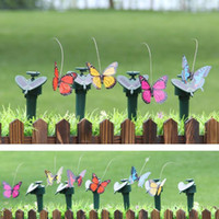 Wholesale Simulation Butterfly - Home And Garden Decor Ornaments Simulation Spinning Flying Butterfly With Solar Energy Butterfly Garden Decoration CCA6795 60pcs