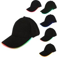 Wholesale Led Hat Wholesale Free Shipping - LED Light Hat Glow Hat Black Fabric For Adult Baseball Caps Luminous 7 Colors For Selection Adjustment Size Xmas Party Free Shipping