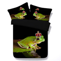 Wholesale Comforter Lotus - 2 Styles Fashion Green Crown Frog 3D Printed Bedding Sets Twin Full Queen King Size Bedclothes Duvet Covers Comforter Lotus Animal Butterfly