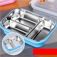 Wholesale Cartoon Healthy Stainless Steel Bento Box ml Lunch Bento Boxes Food Container Dinnerware Lunchbox