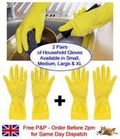 Wholesale 2 Pairs Household Rubber Gloves Latex Washing Up Kitchen Dishes Cleaning Marigol