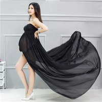 Wholesale Portrait Photography Photos - Fashion Women Stretchy Cotton Chiffon Maternity Gown for Photography Sleeveless Photography Dress for Photo Shoot Maternity Portrait Dress