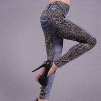 Vente en gros- New Sexy Fashion Leopard Slim Fit Pencil Jeans Pantalons Casual Women Denim Pants