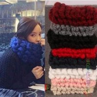 Wholesale High Ted - Wholesale- 2016 Korea fashion High Quality Women Lady Winter Warm Knit ted Neck Warmer thick round Snood Scarf Shawl 100% HAND MADE