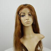 Wholesale Remy Silk Top Wigs - In stock 30# golden color silk top lace front wig Brazilian human remy hair wigs natural wave