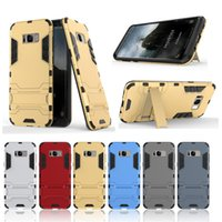 Wholesale Iron Man Clips - For Samsung Galaxy S8 S8 plus Iron Man Kickstand Cell phone Cases TPU+PC 2 in 1 Double Protection Phone Cases