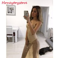 2017 Wave Sequin Lace Kleid Frauen Backless Deep V Neck Sheer Shift Kleider Cut Out Sequin Mesh Straight Kleid Vestidos