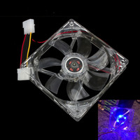 Atacado- 120mm 12V Cooling Fan Computer PC CPU Cooler Clear Compute Case Quad 4 Blue LED Light
