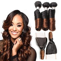 Wholesale Brazilian Hair Weave Curl Brown - Ombre Brazilian Aunty Funmi Hair Weave 3 Bundles With Lace Closure Two Tone Color 1B 4 Brown Ombre Romance Curls Virgin Human Hair