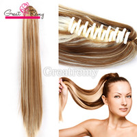 "Wholesale claw clip synthetic ponytail - Greatremy 18"" Straight Ponytail Claw Clip On Extension Synthetic Hairpiece #4 #1B #27 #27 613 #613 #33 #8"