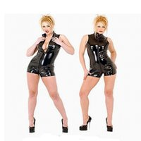Wholesale Pvc Sexy Outfits - Black Glossy Women PVC Catsuit Sexy 2 Way Zipper Bodysuit Sleeveless Jumpsuit Clubwear Pole Dance Outfit Size S-XXL