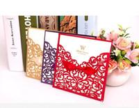 convites de casamento roxos imprimíveis venda por atacado-Roxo quente Europeu convites de papel Oco Cartões de Ouro Personalizado Oco Festa de Casamento Para Imprimir Cartões de Convite wa3740