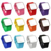 ingrosso calendari di plastica-Le signore calde di vendite LED dello specchio di trucco dell'orologio di plastica di gomma del silicone del silicone della data digitale calendario unisex sport di modo guarda 100pcs / lot