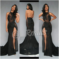 Wholesale Sleeveless Lace Mermaid Prom Dress - Open Back Sexy Black Prom Dresses 2017 High-Thing Split with Vintage Lace Halter Evening Dresses Formal Red Carpet Gowns Custom BA5106