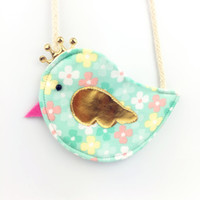 Wholesale Purse Birds - Wholesale- Gold Crown Bird Children Coin Purse Cute Baby Girls Colorful Messenger Bag Handmade Cotton Fabric Bag for Kids Gift for Childr