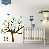 Wholesale Straw Owls - Wholesale-Cartoon Owl Monkey Giraffe Tree Birds Wall Decal Stickers Wallpaper Nursery Vinyl Daycare Baby Kids Room Home Decor 160x180cm