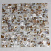 Wholesale x20mm natural color mother of pearl shell mosaic seamless tile mesh backer fresh water shell tile MS121