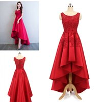 Wholesale High Low Special Occasion Dresses - 2018 Latest In Stock High-Low Prom Dresses Red Lace Beaded Satin Evening Party Dresses Special Occasion Dresses