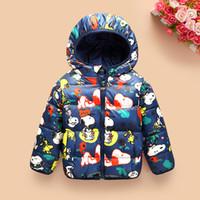 kışlık ceketler unisex parkas toptan satış-Çocuk giyim boysgirls Kış Kalın sıcak karikatür moda coatsjackets çocuklar Kore aşağı parkas