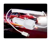 araba şekli iphone şarj cihazı toptan satış-Mini usb araç şarj 3.4a usb kablosu bahar şekli güvenlik şarj için iphone se 6 s 7 artı samsung s7 s6 kenar not 5 7 redmi