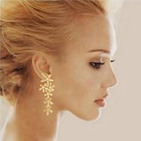Wholesale earrings snowflake long - TOMTOSH Women 2014 New Fashion Full Rhinestone Crystal Long Snowflake Flower Dangle Drop Tassel Gold Silver& plated& Earrings