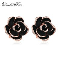 Rystal Stud Earrings Double Fair Mosaic Black Rose Flower Crystal Stud Earrings Rose Gold Color Moda Vintage Ear Jewelry para mulheres / Gir ...