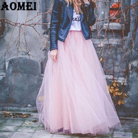 Wholesale Tutu Skirts Size Girls - 2017 Girls Lolita Tulle Skirt 7 Layers with Bowtie Spring Summer Maxi Long Tutu Jupe Skirts for Women Plus Size 4XL