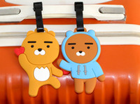 Wholesale Baggage Identification - 100pcs lot cartoon Bear luggage tags pvc travel baggage tag PERSONALIZED Identification card suitcase label Bag jewelry Pendants accessories