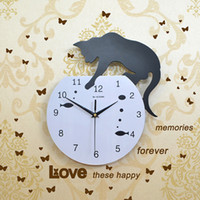 Wholesale Time Watch Cartoon - Leisure Time Black Cat Clocks Refrigerator Magnets Message Posted Withdrawing Watch Fridge Magnet Mute Wall Clock Quartz Movement
