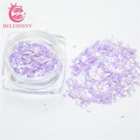 Wholesale Crush Shell - Wholesale- Beleshiny 3g box Crushed Shell Chips Powder For UV Acrylic System 3D Nail Art Decoration Rhinestones For Nails Free Shipping F