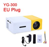 Wholesale Medium Plugs - Wholesale-EU PLUG YG300 LED Portable Projector 400-600LM 3.5mm Audio 320 x 240 Pixels YG-300 HDMI USB Mini Projector Home Media Player