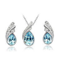 Wholesale wedding necklaces online - Top Quality Bridal Jewelry Set Austrian Crystal Earring Necklace Set Rhinestone Pendant Necklace Stud Earring for Women Wedding party Jewery