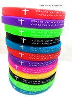"Wholesale Width 7mm - 50pcs Color 7mm Width Serenity Prayer ""GOD GRANT ME..""Bible Cross Silicone bracelets Wristbands wholesale Christian Jewelry Lots"