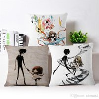 Wholesale Hand Embroidered Cushions - Alice hot hand tour DeeMo cotton and linen pillow DIY Decorative Cushion Cover for Sofa Seat pillow Cover Linen Cotton Chair