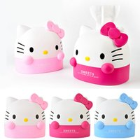 Venta al por mayor- Kawaii Kitty Cat HomeCar Tissue Box Case.Removable papel de la servilleta Creative Home Decor.Tissue Boxes.Cartoon Roll Paper Holder