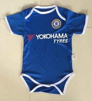 Wholesale Soccer Jerseys Wholesale Cotton - 2017 2018 New chelsea Baby soccer Jersey Cotton Short Sleeved Jumpsuit madrid Baby Triangle Climb Clothes Loveclily 17 18 baby's fans shirt