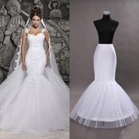 Wholesale Trumpet Bridal Slips - Hot Ready to Ship One Hoop Petticoat Crinoline For Mermaid Wedding Dresses Flounced Mermaid Petticoat Slip Bridal Accessories CPA201